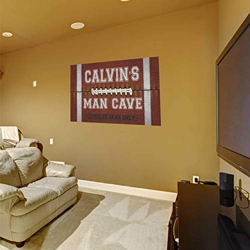 Man Cave Custom Name Wall Decal - Football Themed Personalized Name Man Cave Sports Wall Sticker - Custom Name Sign - Custom Name Stencil Monogram - Game Room Wall Decor