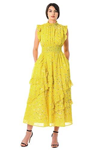 - eShakti Women's Ruffle Floral Print Georgette Smocked Dress L-14 Tall Yellow Multi