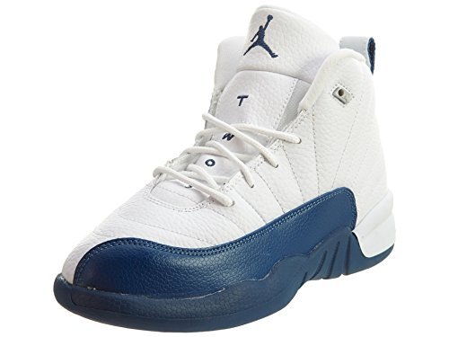 Jordan 12 Retro BP Little Kids Style, White/Frnch BL/Metallic Silver/VRST, 11 by Jordan