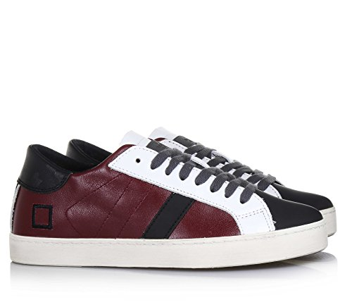 D.A.T.E. - Bordeauxroter und schwarzer Schuh mit Schnürsenkeln aus Leder, Unisex Bambino, Jungen, Mädchen