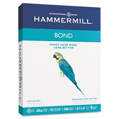 Hammermill Paper, Bond 30% Recycled, 20Lb, 8.5 x 11, Letter, 92 Bright, 5000 Sheets / 10 Ream Case (118315C), Made In The USA