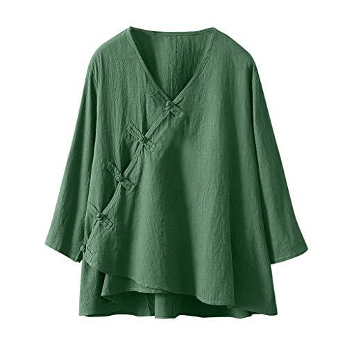 - Pengy Women Cotton Linen Top Vintage V-Neck Short Sleeve T-Shirt Female Casual Loose T-Shirt Blouse Top Green