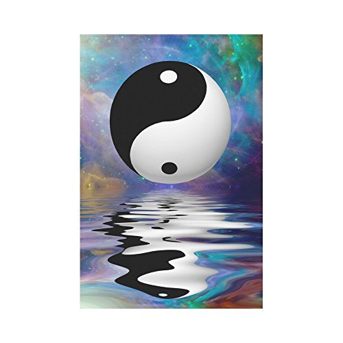 - INTERESTPRINT Yin Yang Creative Design Polyester Garden Flag House Banner 12 x 18 inch, Chinese Symbol Decorative Flag for Party Yard Home Outdoor Decor
