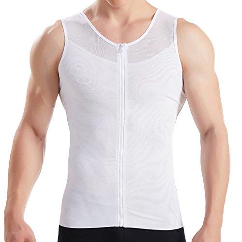 Hanerdun- Mens Slimming Body Shaper Shirt With Zipper Abs Abdomen Slim,White,Large