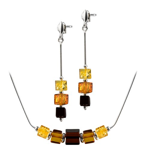 Sterling Silver Multicolor Amber Cube Earrings Necklace 18 Inches ()