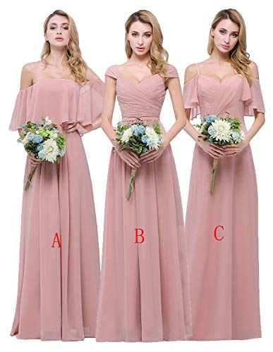 (CLOTHKNOW Chiffon Bridesmaid Dresses Long Sweetheart Pleat Girl Formal Gowns Dusty Rose)