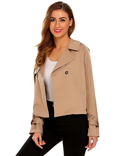 SummerRio Women's Casual Lapel Short Trench Coat Long Sleeve Lightweight Button Open Front Jacket Khaki - Button Short Jacket Front