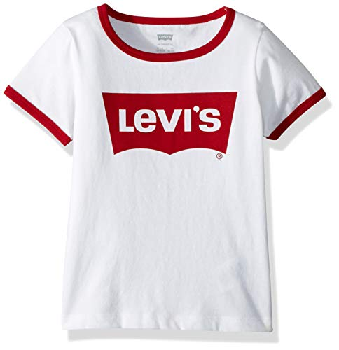 Levi's Girls Classic Batwing T-Shirt, White Ringer, S (Girls Ringer T-shirt)