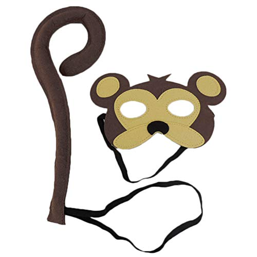 Adult Deluxe Monkey Mask - Children's Deluxe Monkey Mask & Tail