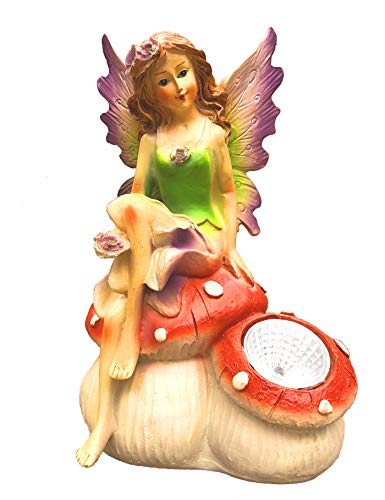 Bo-Toys Solar Powered Fairy Angel with Wings and Solar Glowing Light, Garden Light Decor