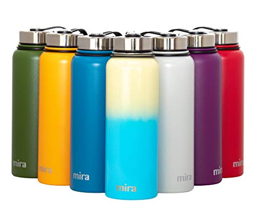 MIRA 40 Oz Stainless Steel Vacuum Insulated Wide Mouth Water Bottle | Thermos Keeps Cold for 24 Hours, Hot for 12 Hours | Triple Walled Travel Flask | Coast Line