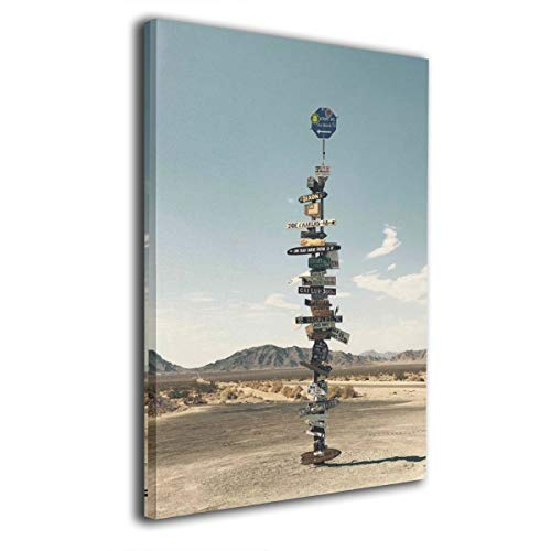 (Rolandrace Brown Road Sign On Pavement Near Mountain -Canvas Prints Wall Art Decor Geometry Wall Artworks Pictures for Living Room Bedroom Decoration-12x16 Inch )