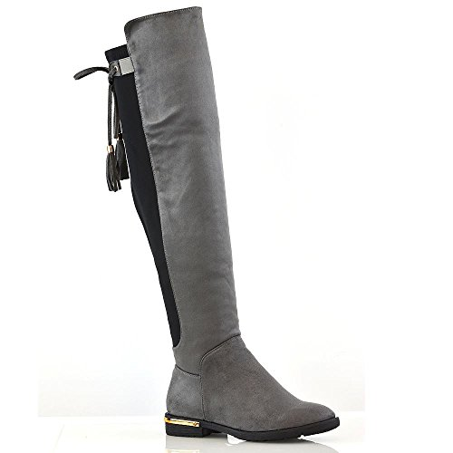 ESSEX GLAM New Womens Over The Knee High Gold Trim Flat Heel Tassel Ladies Stretch Boots Grey Faux Suede