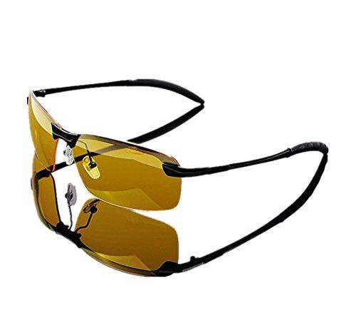 Lorsoul Men's Yellow Night View Vision Polarized HD Sunglasses UV400 Glasses Unbreakable Night Driving Fishing Shooting Sports (Black Frame) ()