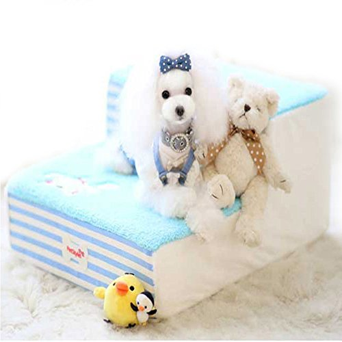 Cute Fleece Pet Dog Cat Bed Stairs For Small Dog High-Den...