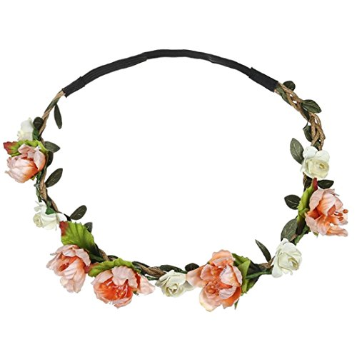 Christmas Accessories Free - BCDshop Flower Headband Hair Band Wrap for Women Girls Ladies Boho Floral Hairband Party Festival Wedding Garland Accessories (Orange)