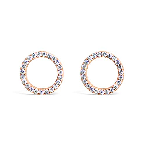 Tisoro Sterling Silver Open Circle Stud Earrings – Minimalist CZ Stud Earrings in Black, Gold, Rose Gold or Silver (Rose Gold)