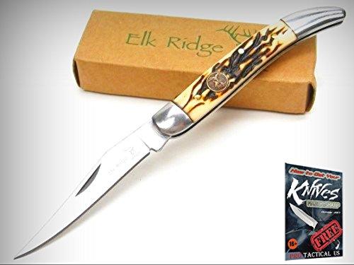 ELK RIDGE Brown Bone TOOTHPICK Straight Folding POCKET Knife New! 001110I + free eBook by ProTactical