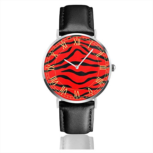 (Womens Watch Red Tiger Special Classic Stainless Steel Quartz Wrist Watches with Replaceable Leather Band)