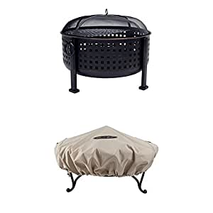 "Pleasant Hearth OFW821RC Langston 12"" Deep Bowl Fire Pit with Round Fire Pit Cover,Small"