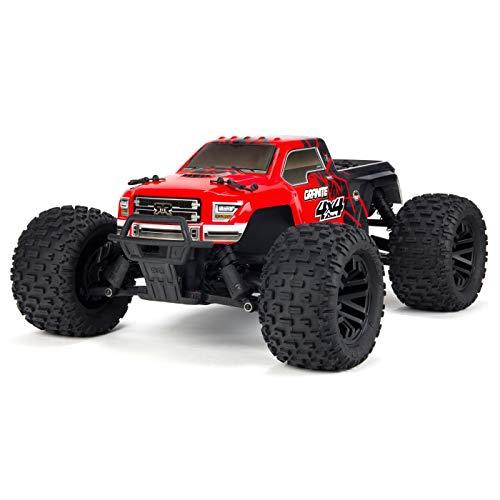ARRMA 1/10 Granite Mega 4x4 RC Monster Truck 4WD RTR with 2.4Ghz Spektrum Radio, 7C 2400mAh NiMH Battery & Charger, Red/Black (ARA102714T2) (Truck 4x4 Rc Monster)
