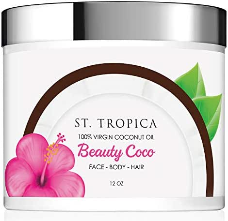 ST. TROPICA Beauty Coco 100% Virgin Coconut Oil - Multitasking Moisturizer For Skin & Hair, Vitamin E is Perfect for All Skin Types - VEGAN - GLUTEN-FREE (12oz)