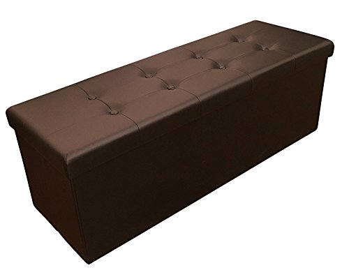 Sodynee Faux Leather Folding Shoe Storage Ottoman Cubes Bench, Foot Rest Stool Seat Table Pouf Footstools and Ottomans 43 1/4