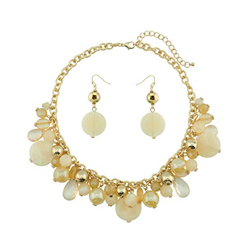 COIRIS Women's Beaded Strand Statement Necklace Beads Collar (N0002Beige) ()