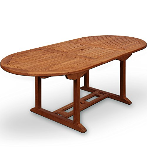Wooden Garden Dining Table 'Vanamo' In.- Outdoor Patio Conservatory Oval Furniture 6 Seater