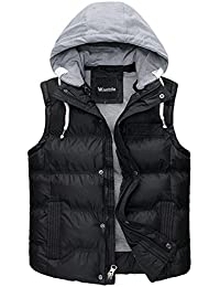 Men's Winter Puffer Vest Removable Hooded Quilted Warm Sleeveless Jacket Gilet