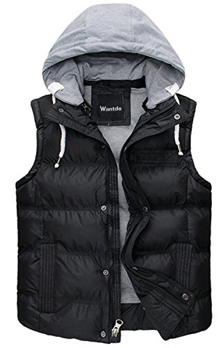 49249eb7f29 Wantdo Men s Winter Puffer Vest Removable Hooded Quilted Warm Sleeveless  Jacket Gilet