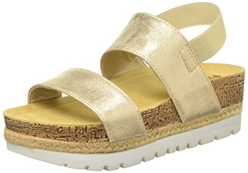 Inblu NK000002, Sandalias de Plataforma Mujer Dorado (Platino)