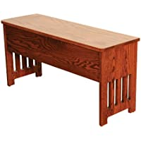 Mission Bench with Storage Solid Oak Wood - Amish Custom Handmade Pick Your Own Stain - 3 Feet - Brown Maple Wood Available for Same Price, Upcharge for Cherry, Maple, Painted, Quartersawn Oak, Rustic Cherry, Rustic Quartersawn, Distressed
