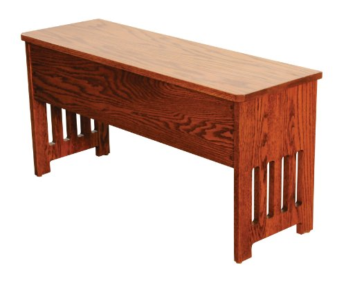 Mission Bench with Storage Solid Oak Wood - Amish Custom Handmade Pick Your Own Stain - 3 Feet - Brown Maple Wood Available for Same Price, Upcharge for Cherry, Maple, Painted, Quartersawn Oak, Rustic Cherry, Rustic Quartersawn, (Custom Storage Bench)