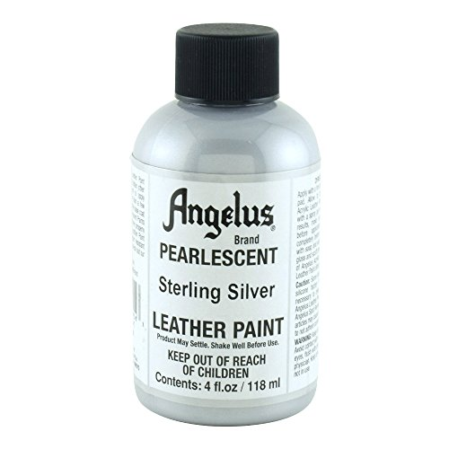 Angelus Leather Paint Pearlescent Sterling Silver, 4 Ounce jar (733-01-454) (Metallic Shoe Paint)