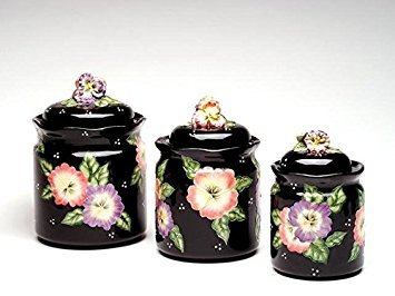 Set of 3 Black Porcelain Lidded Canisters with Colorful Pansy Design