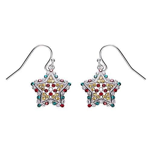 Gnzoe - Women Ladies 925 Sterling Silver Earrings Star Drop Earrings Colorful