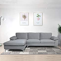 Living Room Sectional Couch for Living Room Sectional Sofa with Velvet Fabric and Hard Wood Frame L-Shape Sectional Sofa Couch Grey… modern sofas and couches