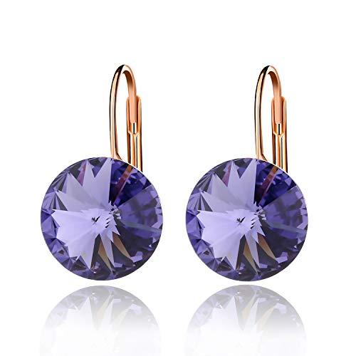 Round Drop Swarovski Crystal Earrings for Women Girls 14K Gold Plated Leverback Hook Earrings (Tanzanite)