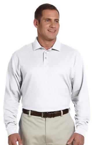 - Devon & Jones Classic Long Sleeve Pima Polo Shirt - Medium - WHITE