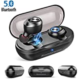 Wireless Earbuds, Latest 5.0 Bluetooth Earbuds with Charging Case Stereo Phone Calls Deep Bass Surround Mini Earphones In Ear Headphones Sweatproof True Wireless Bluetooth Earbuds with Mic for Sports,