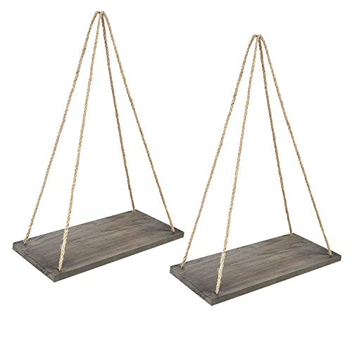 Y&ME Wood Rope Hanging Floating Shelves Set of 2, Rustic Wall Hanging Shelf with 4 Hooks,Wood Hanging Shelf for Living Room Bedroom Bathroom and Kitchen 17