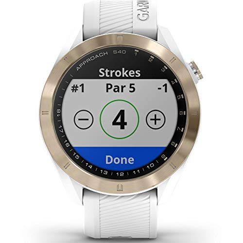 Garmin Approach S40 Golf Watch (Light Gold Tone/White Band) - 010-02140-02 with Approach S60 Screen Protector 2pack