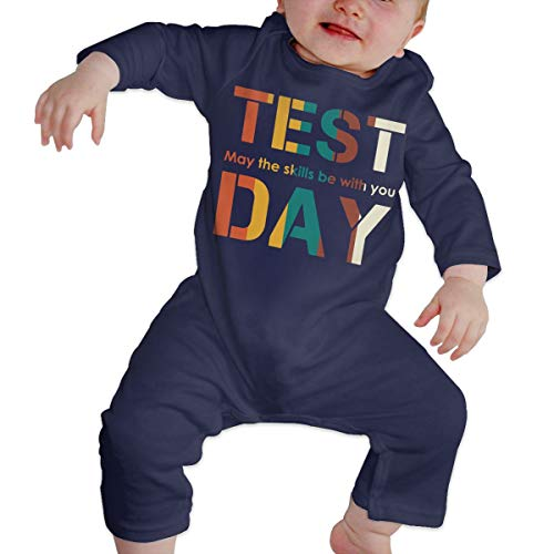 LBJQ8 Test Day May The Skills Be with You Newborn Infant Baby Girls Essential Basic Bodysuit Jumpsuit Outfits Navy ()