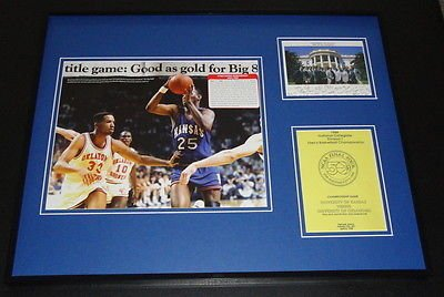 - 1988 Kansas Jayhawks Basketball Framed 16x20 National Champs Photo Display
