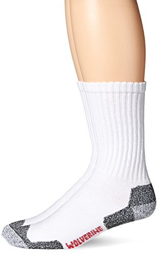 Acrylic Rib Socks (Wolverine Men's 2 Pack Acrylic Steel Toe Socks, White, Sock Size:10-13/Shoe Size: 6-12)