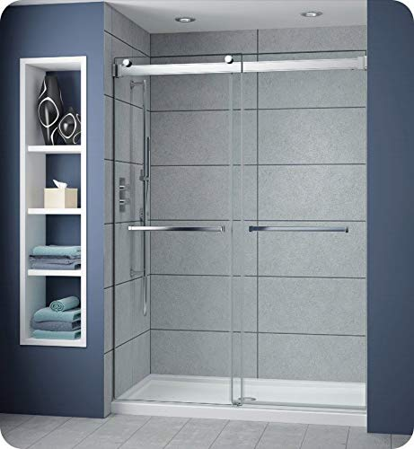 Fleurco Gemini 57 to 60 W x 79 H Bypass Plus 60 In-Line Frameless Sliding Shower Door 3 8 10 mm Tempered Clear Glass Chrome Finish NP160-11-40