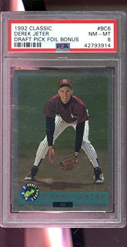 1992 Classic Draft Pick Foil Bonus Derek Jeter Yankees ROOKIE #BC6 PSA 8 Graded Baseball Card (1992 Classic Draft)