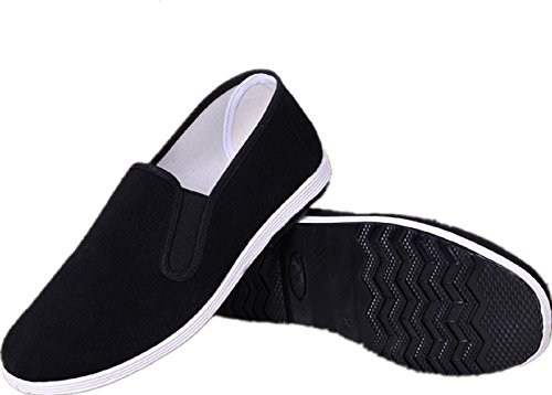 APIKA Chinese Traditional Old Beijing Shoes Kung Fu Tai Chi Shoes Rubber Sole Unisex Black (CHN44 (US:Men 10/Women 11.5))