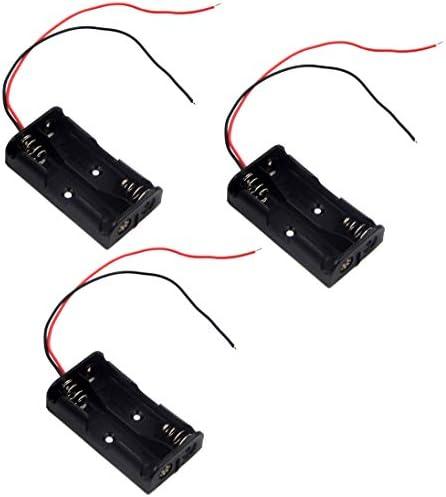 LAMPVPATH (Pack of three) 2 AA Battery Holder, 2 AA Battery Holder with Leads, 2 AA Battery Holder with Wires